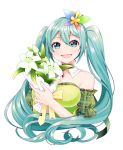 1girl alternate_costume aqua_eyes aqua_hair bare_shoulders bouquet bow breasts butterfly_hair_ornament collar collarbone commentary detached_collar dress flower frilled_sleeves frills green_dress green_sleeves hair_ornament hatsune_miku highres holding holding_bouquet light_blush lily_(flower) long_hair looking_at_viewer masumofu medium_breasts necktie open_mouth plaid_sleeves smile solo strapless strapless_dress twintails upper_body very_long_hair vocaloid white_background yellow_neckwear