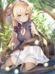 1girl arisa_(shadowverse) bangs bare_shoulders belt blonde_hair blush boots breasts commentary elbow_gloves elf eyebrows_visible_through_hair gloves green_eyes hair_ribbon highres holding in_water kichi_(kichifav) kneeling long_hair looking_at_viewer medium_breasts pointy_ears princess_connect! princess_connect!_re:dive red_ribbon ribbon shadowverse skirt smile solo thigh-highs thigh_boots