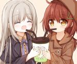 2girls :d ^_^ bangs bendy_straw black_jacket blush bow brown_background brown_coat brown_eyes brown_hair brown_headwear brown_shirt closed_eyes coat collared_shirt commentary_request cup disposable_cup dotted_line dress_shirt drinking_straw eyebrows_visible_through_hair grey_hair hair_between_eyes hair_ornament hairclip hat holding holding_cup jacket long_hair long_sleeves multiple_girls open_clothes open_jacket open_mouth original purple_bow shared_drink shirt sleeves_past_wrists smile upper_body very_long_hair wide_sleeves yuuhagi_(amaretto-no-natsu)