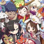 2girls 3boys backpack bag beet_(pokemon) blush_stickers closed_eyes dark_skin dark_skinned_male fang gen_8_pokemon grin grookey group_picture hat hattrem high_five hop_(pokemon) kingin mary_(pokemon) masaru_(pokemon) morpeko multiple_boys multiple_girls pokemon pokemon_(game) pokemon_on_head pokemon_swsh rotom_phone scorbunny smile sobble stick taking_picture twintails v wavy_mouth wooloo yuuri_(pokemon)