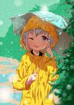 1girl black_shirt blue_eyes child eyebrows_visible_through_hair green_background grey_hair jacket one_eye_closed open_mouth original puddle rain raincoat shirt short_hair solo umbrella upper_body wet wet_clothes yellow_jacket