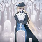 1girl artoria_pendragon_(all) artoria_pendragon_(lancer) blue_dress cross dress dress_shirt fate_(series) funeral_dress funeral_veil fur-trimmed_sleeves fur_trim hat highres long_hair shaded_face shirt snowing solo tombstone tsushima_touko veil