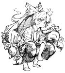 1girl baggy_pants bangs blue_eyes bow buttons collared_shirt cosplay fugota6509 fujiwara_no_mokou fujiwara_no_mokou_(cosplay) greyscale hair_bow hair_ornament highres hime_cut kunio-kun_series kyoko_(kunio-kun) long_hair long_sleeves monochrome ofuda orange_hair pants ponytail red_footwear red_pants river_city_girls shirt shoe_bow shoes sidelocks sleeves_rolled_up smile solo squatting suspenders touhou very_long_hair white_shirt