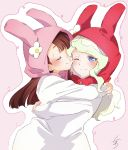 2girls alternate_costume animal_ears blue_eyes blush closed_eyes diana_cavendish flower hand_on_another's_shoulder happy headwear highres hug kagari_atsuko kiss little_witch_academia long_hair long_sleeves looking_at_viewer mochiro_lwa multicolored_hair multiple_girls one_eye_closed pajamas rabbit_ears signature simple_background smile two-tone_hair wavy_hair yuri