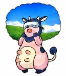 commentary cow field full_body gen_2_pokemon grass head_mounted_display miltank no_humans open_mouth pokemon pokemon_(creature) standing udder yashiro_shouyu