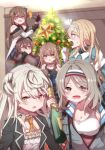 6+girls black_legwear blonde_hair blue_eyes blush bottle breasts brown_hair christmas christmas_tree double_bun drink girls_frontline green_eyes grey_hair hair_ornament hairband hairclip hayarob heterochromia highres large_breasts long_hair multiple_girls open_mouth rfb_(girls_frontline) silver_hair skirt small_breasts star