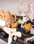 1girl :t ahoge alternate_costume bandaid bandaid_on_face bandaid_on_knee bangs bench black_footwear black_shorts blush burger_king cat_hair_ornament child_(isoliya) choker crossed_legs cup disposable_cup drinking_straw eating food food_in_mouth food_on_face girls_frontline grey_background hair_between_eyes hair_ornament hamburger highres holding jacket long_hair long_sleeves pkp_(girls_frontline) ponytail shirt shoes short_eyebrows shorts side_ponytail sitting sneakers solo stuffed_animal stuffed_cat stuffed_toy thick_eyebrows very_long_hair white_hair white_shirt yellow_eyes