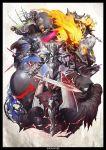 1girl 6+boys antonio_salieri_(fate/grand_order) armor ashwatthama_(fate/grand_order) avicebron_(fate) berserker_(fate/zero) black_armor black_cape cape charles_babbage_(fate/grand_order) clarent fate/apocrypha fate/grand_order fate/zero fate_(series) fire full_armor full_body glowing glowing_eyes helmet holding holding_sword holding_weapon ivan_the_terrible_(fate/grand_order) kei-suwabe leonidas_(fate/grand_order) mask mordred_(fate) mordred_(fate)_(all) mori_nagayoshi_(fate) multiple_boys okada_izou_(fate) polearm purple_hair sigurd_(fate/grand_order) spear spiky_hair standing sword true_assassin weapon xiang_yu_(fate/grand_order)