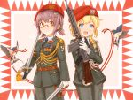 2girls :d austria battle_rifle beret bird blonde_hair blue_eyes braid brown_hair chinese_commentary commentary fn_fal formal german_commentary glasses gloves gun hat highres holding holding_gun holding_sheath holding_sword holding_weapon looking_at_viewer medal military military_rank_insignia military_uniform multiple_girls necktie open_mouth original rifle saber_(weapon) semi-rimless_eyewear sheath short_twintails smile suzushiro_(gripen39) sword tassel twintails uniform weapon yellow_eyes