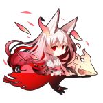 1girl absurdly_long_hair animal_ear_fluff animal_ears bangs barefoot brown_hair chibi closed_mouth commentary_request different_shadow eyebrows_visible_through_hair flaming_sword fox_ears fox_girl fox_tail gradient_hair hair_between_eyes japanese_clothes kimono long_hair long_sleeves multicolored_hair obi original pink_hair red_eyes redhead sash sketch solo standing sword tail torn_clothes torn_kimono very_long_hair weapon white_background white_kimono wide_sleeves yuuji_(yukimimi)