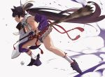 1girl armor bangs bare_shoulders black_hair blue_eyes blue_gloves blue_panties breasts closed_mouth detached_sleeves drawing_sword fate/grand_order fate_(series) feathers full_body gloves hair_feathers japanese_armor katana long_hair medium_breasts mismatched_sleeves panties parted_bangs profile rope sheath side_ponytail sideboob simple_background socks solo sword underwear ushiwakamaru_(fate/grand_order) very_long_hair weapon white_background wide_sleeves yang-do