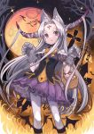 1girl absurdres animal_ears basket bat candy dress food full_moon hair_ornament halloween highres horns izayoi_cha long_hair moon night night_sky nightgown original red_eyes silver_hair skirt sky tattoo very_long_hair white_legwear