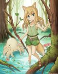 1girl animal_ears belt black_belt blonde_hair blue_eyes brown_footwear clover commentary_request day duke_(kimurasun) eyebrows_visible_through_hair flower four-leaf_clover fox_ears fox_girl fox_tail green_shirt green_shorts head_tilt highres long_hair looking_at_viewer midriff moss navel open_mouth original outdoors partial_commentary pink_flower sandals shirt short_shorts shorts solo squid standing tail tank_top tree wading