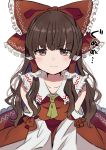 1girl :i ascot bangs bare_shoulders blush bow brown_eyes brown_hair collarbone commentary_request detached_sleeves eyebrows_visible_through_hair frilled_bow frilled_shirt_collar frills hair_bow hair_tubes hakurei_reimu highres long_hair long_sleeves looking_at_viewer petticoat red_bow red_skirt satoupote sidelocks simple_background skirt solo touhou translation_request upper_body v-shaped_eyebrows white_background yellow_neckwear