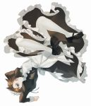 1girl absurdres alternate_costume apron bangs black_clothes black_footwear brown_eyes brown_hair closed_mouth dress full_body highres long_sleeves looking_at_viewer maid maid_apron maid_dress maid_headdress maro_(lij512) overwatch shoes short_hair simple_background solo spiky_hair tracer_(overwatch) white_background white_legwear