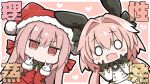 1boy 1girl :d @_@ alternate_costume angeltype animal_ears astolfo_(fate) bangs black_bow black_gloves black_neckwear blush bow bowtie chibi commentary_request double_v dress eyebrows_visible_through_hair fake_animal_ears fang fate/grand_order fate_(series) florence_nightingale_(fate/grand_order) gloves hair_between_eyes hair_bow hair_intakes hair_ribbon hat heart heart_background jacket long_hair multicolored_hair o_o open_mouth otoko_no_ko outline pink_background pink_eyes pink_hair rabbit_ears red_jacket ribbon santa_costume santa_hat skin_fang smile streaked_hair striped striped_bow translation_request twintails v v-shaped_eyebrows white_gloves white_hair