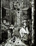 1boy 1girl absurdres barefoot bottle greyscale highres long_hair looking_at_viewer monochrome original scenery short_hair sign sitting translation_request twintails usio_ueda