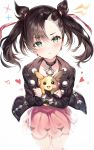 1girl aqua_eyes asymmetrical_bangs asymmetrical_hair bangs black_hair black_jacket black_nails blush breasts choker dress earrings hair_ribbon heart hug jacket jewelry long_sleeves looking_at_viewer mary_(pokemon) morpeko narae open_clothes pink_dress pokemon pokemon_(game) pokemon_swsh red_ribbon ribbon simple_background twintails white_background