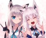 2girls :d ;) ^_^ absurdres ahoge animal_ear_fluff animal_ears azur_lane bad_id bangs black_gloves blue_eyes blue_neckwear blush closed_eyes commentary_request crossover detached_sleeves double_fox_shadow_puppet eyebrows_visible_through_hair fox_ears fox_shadow_puppet gloves hair_between_eyes highres hololive kawakaze_(azur_lane) long_hair long_sleeves look-alike masaki_(msk064) multiple_girls neckerchief one_eye_closed open_mouth shirakami_fubuki shirt silver_hair sleeveless sleeveless_shirt smile upper_body upper_teeth virtual_youtuber white_shirt white_sleeves wide_sleeves