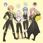 4girls alternate_hairstyle bespectacled blue_hair braid brown_eyes cape claude_von_riegan claude_von_riegan_(cosplay) closed_eyes closed_mouth cosplay crown_braid epaulettes fire_emblem fire_emblem:_three_houses flower garreg_mach_monastery_uniform glasses gradient gradient_background highres hilda_valentine_goneril ignatz_victor ignatz_victor_(cosplay) larachelle leonie_pinelli long_hair long_sleeves lorenz_hellman_gloucester lorenz_hellman_gloucester_(cosplay) lysithea_von_ordelia marianne_von_edmund multiple_girls one_eye_closed open_mouth orange_eyes orange_hair pants parted_lips pink_eyes pink_hair ponytail raphael_kirsten raphael_kirsten_(cosplay) rose short_hair simple_background twintails twitter_username uniform white_hair yellow_cape
