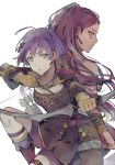 2girls arrow bernadetta_von_varley bike_shorts bow_(weapon) bracelet dress earrings fire_emblem fire_emblem:_three_houses from_side gloves grey_eyes hair_ornament holding holding_arrow holding_bow_(weapon) holding_weapon jewelry kvlen long_hair long_sleeves multiple_girls parted_lips petra_macneary ponytail purple_hair quiver short_dress simple_background thigh_strap weapon white_background yellow_gloves