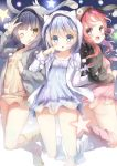 3girls :d :o ;q animal_ears animal_hood anko_(gochiusa) arm_up black_jacket blue_dress blue_eyes blue_hair blue_legwear blush braid brown_eyes bunny_hood character_hood chimame-tai closed_mouth commentary_request dress fake_animal_ears gochuumon_wa_usagi_desu_ka? grey_jacket hair_ornament highres hood hood_up hooded_jacket jacket jouga_maya kafuu_chino kneehighs locked_arms long_hair long_sleeves looking_at_viewer multiple_girls na!?_(naxtuyasai) natsu_megumi one_eye_closed open_clothes open_jacket open_mouth parted_lips pink_dress pink_legwear red_eyes redhead smile star tippy_(gochiusa) toeless_legwear tongue tongue_out twin_braids v white_jacket wild_geese x_hair_ornament yellow_dress yellow_legwear