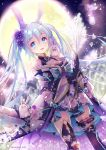 1girl animal_ears backlighting black_gloves blue_eyes blue_hair floral_print flower full_moon gloves hair_between_eyes hair_flower hair_ornament hane_segawa hatsune_miku highres japanese_clothes long_hair mismatched_legwear moon night open_mouth rabbit rabbit_ears thigh-highs twintails vocaloid