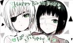 1girl black_coat black_eyepatch black_jacket coat english_text eyepatch green_eyes green_hair happy_birthday heart jacket looking_at_viewer medical_eyepatch monochrome mutsuki_tooru nervous nyako_umi reverse_trap short_hair sweat sweatdrop tokyo_ghoul tokyo_ghoul:re tomboy trench_coat white_background white_coat white_eyepatch white_hair white_jacket