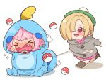 2girls blonde_hair blue_hair blush boots breasts chibi closed_eyes collared_dress commentary_request cosplay crossover crying dress ear_piercing earrings eyebrows_visible_through_hair fang gen_1_pokemon gen_8_pokemon green_headwear grey_sweater hair_intakes hat hood hood_down hood_up hooded_sweater idolmaster idolmaster_cinderella_girls jewelry large_breasts leg_up long_sleeves looking_at_another motion_lines multicolored_hair multiple_girls nose_blush open_mouth piercing pink_collar pink_dress pink_hair poke_ball poke_ball_(generic) poke_ball_earrings pokemon pokemon_(creature) pokemon_(game) pokemon_swsh red_eyes shadow shiny shiny_hair shirasaka_koume simple_background sitting sitting_on_floor smile sobble sobble_(cosplay) spread_legs standing standing_on_one_leg sweater takatoo_kurosuke tears throwing throwing_poke_ball two-tone_hair voltorb wavy_mouth white_background yumemi_riamu yuuri_(pokemon) yuuri_(pokemon)_(cosplay)