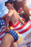 1girl american_flag back bird blue_eyes blue_sky bracer clenched_hand dc_comics dove eagle earrings from_side hand_on_hip highres jewelry lasso lasso_of_truth long_hair muscle muscular_female sky stanley_lau superhero thighs tiara wonder_woman wonder_woman_(series)