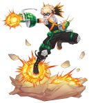 1boy abs angry bakugou_katsuki black_footwear black_pants blonde_hair boku_no_hero_academia boots collarbone commentary_request explosion explosive gloves green_gloves grenade highres looking_at_viewer male_focus messy_hair pants red_eyes short_hair spiky_hair sumone_btk teeth