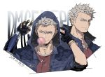 1boy adam's_apple black_gloves blue_coat blue_eyes chewing_gum coat dated devil_may_cry devil_may_cry_5 fingerless_gloves gloves hood hood_up jewelry kinako_(462) male_focus mechanical_arm necklace nero_(devil_may_cry) padded_coat red_shirt shirt signature sleeves_rolled_up smile solo white_hair