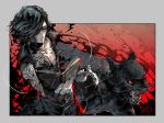animal bare_shoulders black_eyes black_gloves black_hair book cane closed_mouth dated devil_may_cry devil_may_cry_5 full_body_tattoo gloves hair_over_one_eye holding holding_book holding_cane kinako_(462) open_mouth panther red_eyes shadow_(devil_may_cry_5) signature tattoo tongue v_(devil_may_cry)