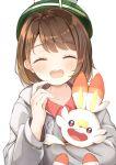 1girl :d ^_^ bangs blush brown_hair cardigan closed_eyes collared_dress dress eyebrows_visible_through_hair facing_viewer fingernails gen_8_pokemon green_headwear grey_cardigan hand_up highres hood hood_down hooded_cardigan hug long_sleeves looking_at_viewer open_mouth pokemon pokemon_(creature) pokemon_(game) pokemon_swsh red_dress sashima scorbunny simple_background smile tam_o'_shanter upper_body upper_teeth white_background yuuri_(pokemon)