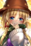 1girl blonde_hair blue_eyes blush brown_headwear commentary_request eyebrows_visible_through_hair green_scarf grin hair_ribbon hat highres lens_flare long_sleeves looking_at_viewer moriya_suwako nora_wanko plaid plaid_scarf red_ribbon ribbon scarf smile solo touhou tress_ribbon upper_body