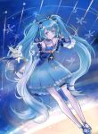 1girl 1other ahoge andedalive aqua_eyes aqua_hair balloon blue_bow blue_dress bow closed_mouth constellation constellation_print double_v dress dutch_angle expressionless frilled_dress frilled_sleeves frills full_body hair_bow hair_ornament hairclip hands_up hatsune_miku highres leaning_forward long_hair looking_at_viewer night night_sky rabbit rabbit_yukine shooting_star sky snowflakes star star_hair_ornament star_print striped striped_bow thigh-highs thigh_strap twintails v very_long_hair vocaloid white_legwear yuki_miku yuki_miku_(2017)