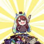 +_+ 1girl :d bangs brown_eyes brown_hair brown_hoodie commentary_request controller crepe eyebrows_visible_through_hair food game_console game_controller gift_card hair_between_eyes hand_on_hip handheld_game_console himouto!_umaru-chan holding holding_food hood hood_down hoodie horned_headwear horns idolmaster idolmaster_shiny_colors long_hair long_sleeves minyom nintendo_switch oosaki_tenka open_mouth playstation playstation_4 smile solo standing very_long_hair