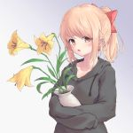 1girl bangs blonde_hair blush bow brown_eyes brown_hoodie commentary earrings flower hair_bow highres holding hood hood_down hoodie jewelry long_hair looking_at_viewer miso_(b7669726) original ponytail red_bow sidelocks solo upper_body yellow_flower