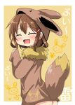 1girl :d blush brown_hair closed_eyes commentary_request eevee eevee_ears eevee_tail fang gen_1_pokemon hair_ornament hairclip highres ikazuchi_(kantai_collection) kantai_collection open_mouth oshiruko_(uminekotei) pokemon pokemon_(creature) short_hair skin_fang smile solo