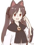 1girl :d alternate_hairstyle animal_ear_fluff animal_ears bangs black_bow bow brooch brown_hair commentary_request dress eyebrows_visible_through_hair frilled_shirt_collar frills hair_bow hand_up imaizumi_kagerou jewelry long_hair looking_at_viewer open_mouth poronegi red_eyes sidelocks simple_background smile solo sweat touhou twintails upper_body white_background white_dress wolf_ears