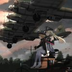 2girls aircraft aircraft_request anchor annin_musou bangs bismarck_(kantai_collection) blonde_hair blue_eyes blush breasts brown_gloves clouds elbow_gloves gloves hat highres iron_cross kantai_collection long_hair long_sleeves military military_uniform multiple_girls open_mouth outdoors peaked_cap pleated_skirt prinz_eugen_(kantai_collection) sitting skirt sleeveless smile thigh-highs tree twintails uniform vehicle_request white_gloves white_skirt