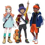 1girl 2boys baseball_cap black_headwear black_legwear blue_coat blue_jacket boots charmander coat dande_(pokemon) dark_skin dark_skinned_male directional_arrow english_text full_body gen_1_pokemon green_eyes green_legwear hair_ornament hairlocs hand_on_hip hands_in_pockets hat headband heart heart_hair_ornament jacket jacket_on_shoulders kibana_(pokemon) legwear_under_shorts long_sleeves low_twintails multiple_boys orange_hair pantyhose pointing pointing_up pokemon pokemon_(creature) pokemon_(game) pokemon_swsh purple_hair raglan_sleeves red_jacket shorts simple_background socks sonia_(pokemon) twintails twitter_username white_background yellow_eyes younger