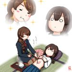 black_hair braid brown_hair chopsticks cy301 eating food food_on_body isonami_(kantai_collection) kantai_collection long_hair multiple_girls necktie nyotaimori open_mouth pantyhose pleated_skirt ribbon rice sashimi school_uniform seiza serafuku sitting skirt sparkle tatami uranami_(kantai_collection)
