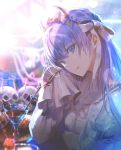 1girl :d bangs blue_eyes breasts dress elbow_rest eyebrows_visible_through_hair fate/grand_order fate_(series) frilled_dress frills hair_between_eyes hair_ribbon hairband head_tilt highres horns hrs_1001 long_hair long_sleeves looking_at_viewer meltryllis open_mouth purple_hair ribbon sitting sleeves_past_fingers sleeves_past_wrists small_breasts smile solo very_long_hair white_dress white_ribbon