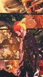 1boy bankai black_hair bleach highres hollow kurosaki_ichigo multiple_boys orange_hair rami_deaa shikai tensa_zangetsu_(bankai) vizard zangetsu_(shikai)