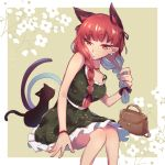 1girl alternate_costume animal_ears bag bangs bare_arms bare_shoulders belt black_cat black_ribbon border braid breasts cat cat_ears cat_tail choker commentary_request dress eyebrows_visible_through_hair feet_out_of_frame green_dress grey_background hair_ribbon kaenbyou_rin kuzuhana long_hair low_twintails medium_breasts multiple_tails nekomata outside_border petticoat pointy_ears red_choker red_eyes redhead ribbon short_dress simple_background sitting spaghetti_strap tail touhou twin_braids twintails two_tails white_belt white_border wristband