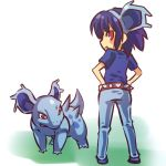 belt blue_hair blush_stickers costume fang hairband hands_on_hips hitec looking_back moemon nidorina personification pokemon pokemon_(creature) pokemon_(game) pokemon_rgby red_eyes short_hair simple_background standing