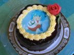? billiards blue_hair bow cake chibi cirno flower food hair_bow photo plate touhou ⑨