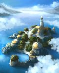 buildings cb church cloud clouds dock island landscape lighthouse mountain mountains nature outdoors plant pool scenery stairs steps water