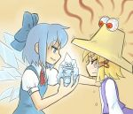 blue_eyes blue_hair bow cirno crossover edward_bighead hat ice kouotsu moriya_suwako pyonta red_eyes rocko's_modern_life rocko's_modern_life short_hair tears touhou wings